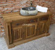 Waschtisch Unterschrank Badmöbel Holz Teak