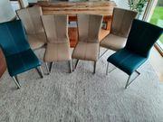 6 Stühle Chromstahlfüsse Kunstleder