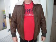 Leder Jacke mit Pelz Kragen