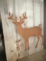 Holz Dekobrett mit Edelrost Hirsch