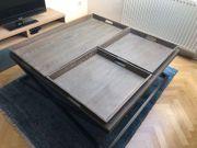 Hochwertiger Designer-Couchtisch 120x120 Holz Metall