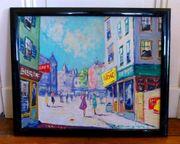 4 tolle alte Paris Gemälde