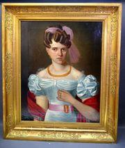 Biedermeier Portrait bürgerliche Dame Original