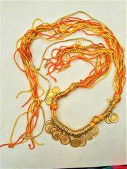 Bauchtanz Gürtel gold-orange-gelbe Schnüre mit