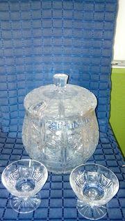 Bleikristallbowlekrug mit 2 Gläser