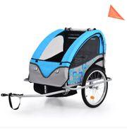2-in-1 Kinder Fahrradanhänger Kinderwagen Blau