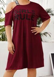 Süßes kurzes Kleid Gr 50-52 bordeaux