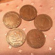 5x 1 Pfennig 1950 BRD