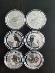 6 Silbermünzen 1 oz Australian