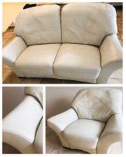 Tolle Couch-Garnitur Echtleder hochwertig weiß