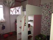 Hochbett weiß rosa mit Schreibtisch