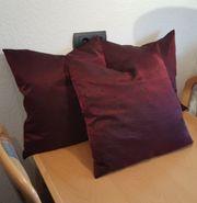 Zierkissen 3x Dekokissen bordeauxrot Couch
