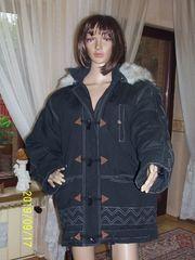 Damenlongjacke antrazitfarben mit Kaputze-Kunstfellbesatz Gr