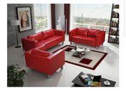 Couch Garnitur Kunstleder Rot