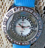 Wunderschöne Damen-Marken-Armbanduhr Edelstahl Zirkonia Lederarmband -