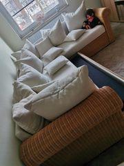 Eck-Couch Rattan ausziehbar