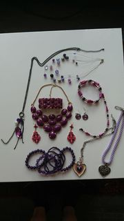 Modeschmuck lila pink auffällig Kette