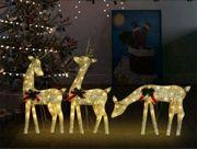 Weihnachtsdekoration Rentiere 270x7x90 Golden warmweiß