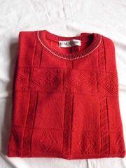 Leichter Herren-Strick-Pullover rot wie neu