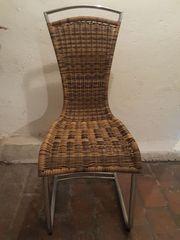 Stühle Schwingstuhl aus Kunstrattan Freischwinger