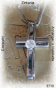 Edelstahlanhänger Kreuzanhänger mit Zirkonia