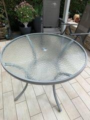 Glastisch rund für Terrasse oder