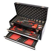 Werkzeugkiste Schwarz 2 Schubladen gefüllt
