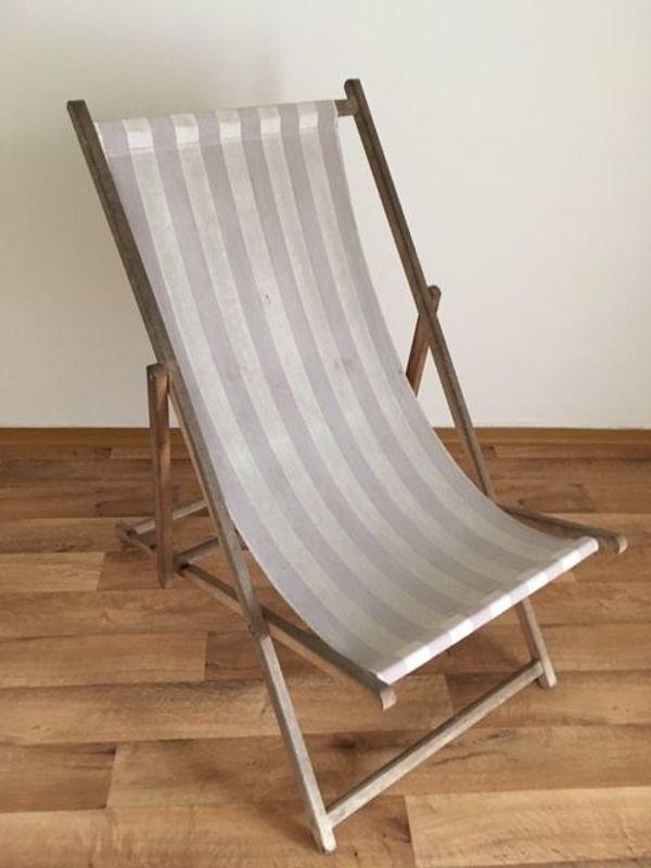 1 Alter Strandstuhl Strandliegestuhl Aus Holz Klappbar