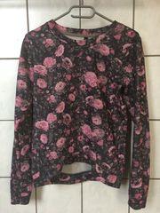 pink schwarzer Blumenpullover