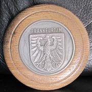 Uralte Plakette aus Holz Metall