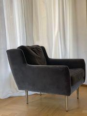Sessel Samt Grau neuwertig 2