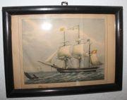 Verglastes Wandbild mit Segelschiffen im