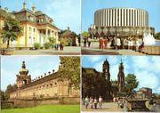 Vier farbige Ansichtskarten aus Dresden