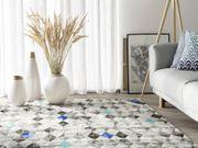 Teppich Leder grau-blau 140 x