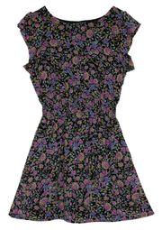 Sommerkleid geblümt Mini floral schwarz