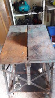 Kreissäge auf Rollwagen montiert alt