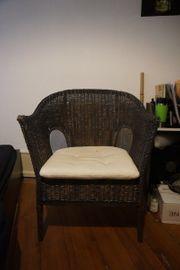 Lounge- Rattansessel Korbsessel mit Sitzkissen