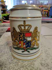 Bayern Bierkrug Humpen bier Zinndeckel