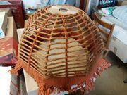 Makramee-Lampenschirm zweifarbig 70er Jahre