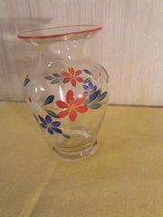 Schöne bemalte Glasvase Vase Vintage