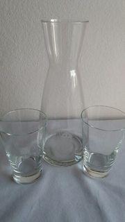 Karaffe mit 2 Gläser NEU