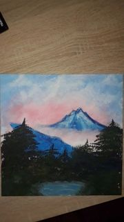 Selbstgemaltes Berge Bild auf Leinwand
