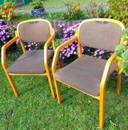 4 Vintage Brunner Massivholz-Stühle