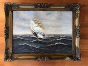 Ölgemälde antik Segelschiff 3-Master H