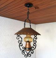 Deckenlampe schmiedeeisern Kupferschirm Handarbeit