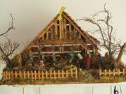 Weihnachtskrippe aus Holz selbstgebaut
