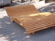 Gartenliege Saunaliege geschwungen Massivholz fertig