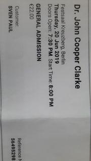 John Cooper Clarke 2 Tickets