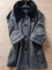 Damen Wollmantel schwarz meliert Einheitsgröße