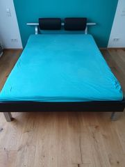 140cm Ruf Bett schwarz kunstleder